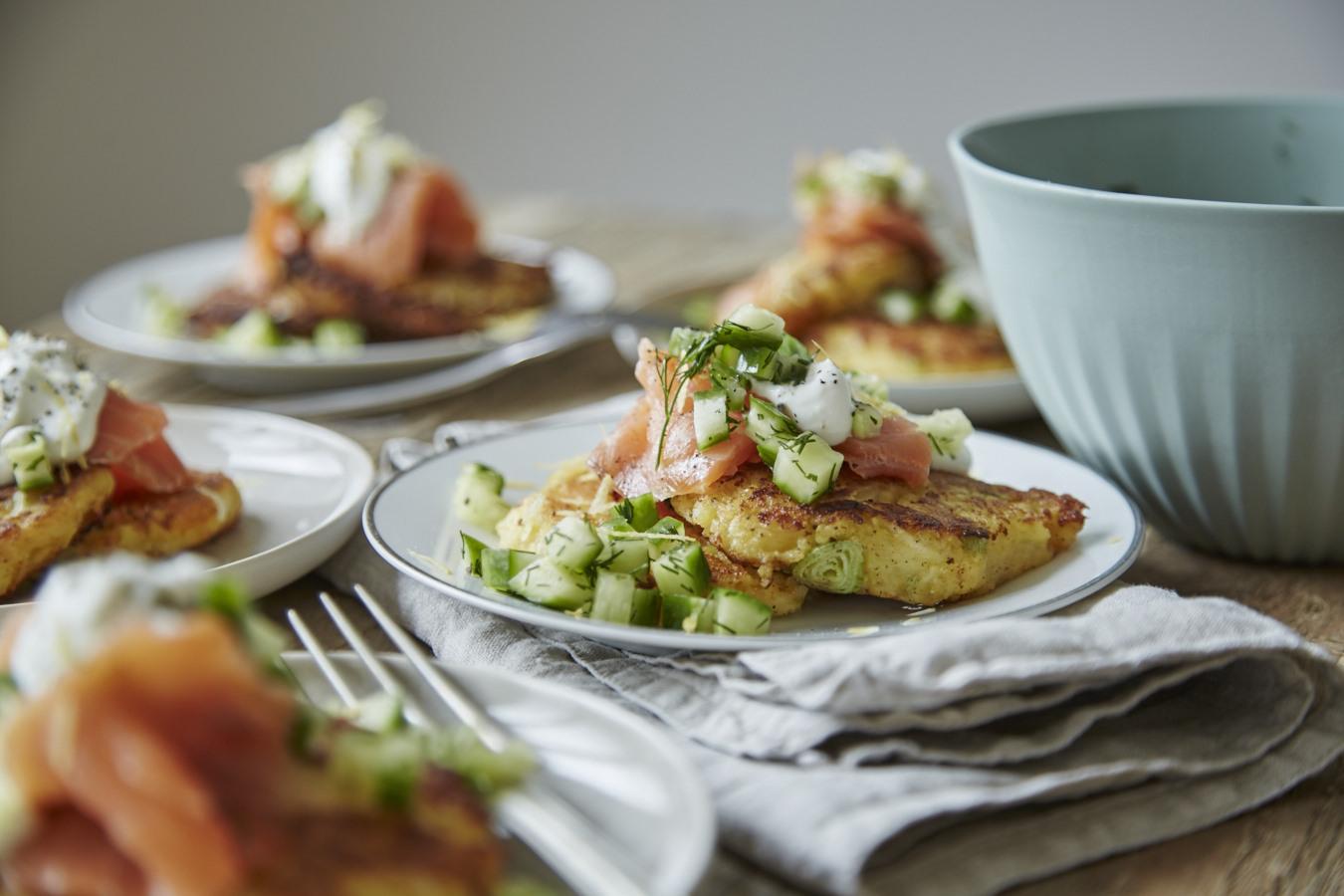 Kartoffelpfannkuchen mit Lachs