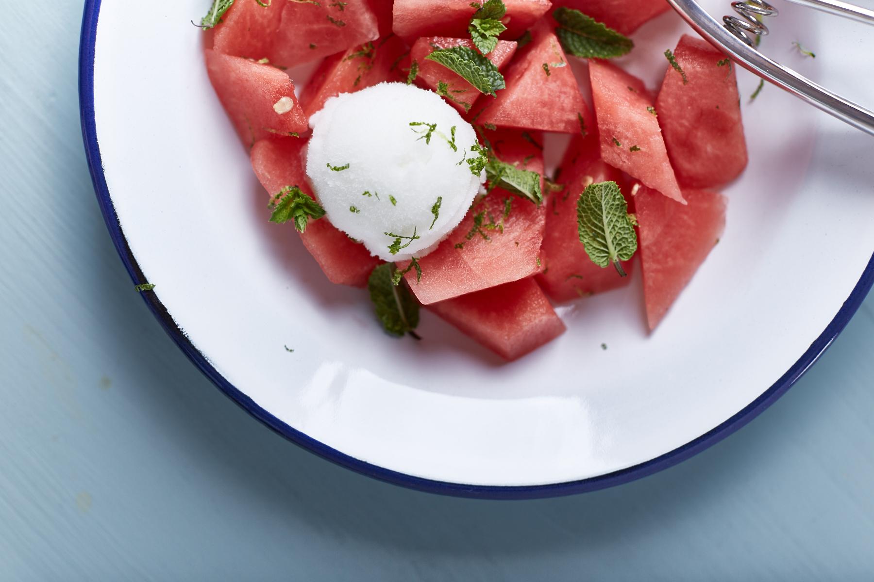 Wassermelone mit Zitronensorbet