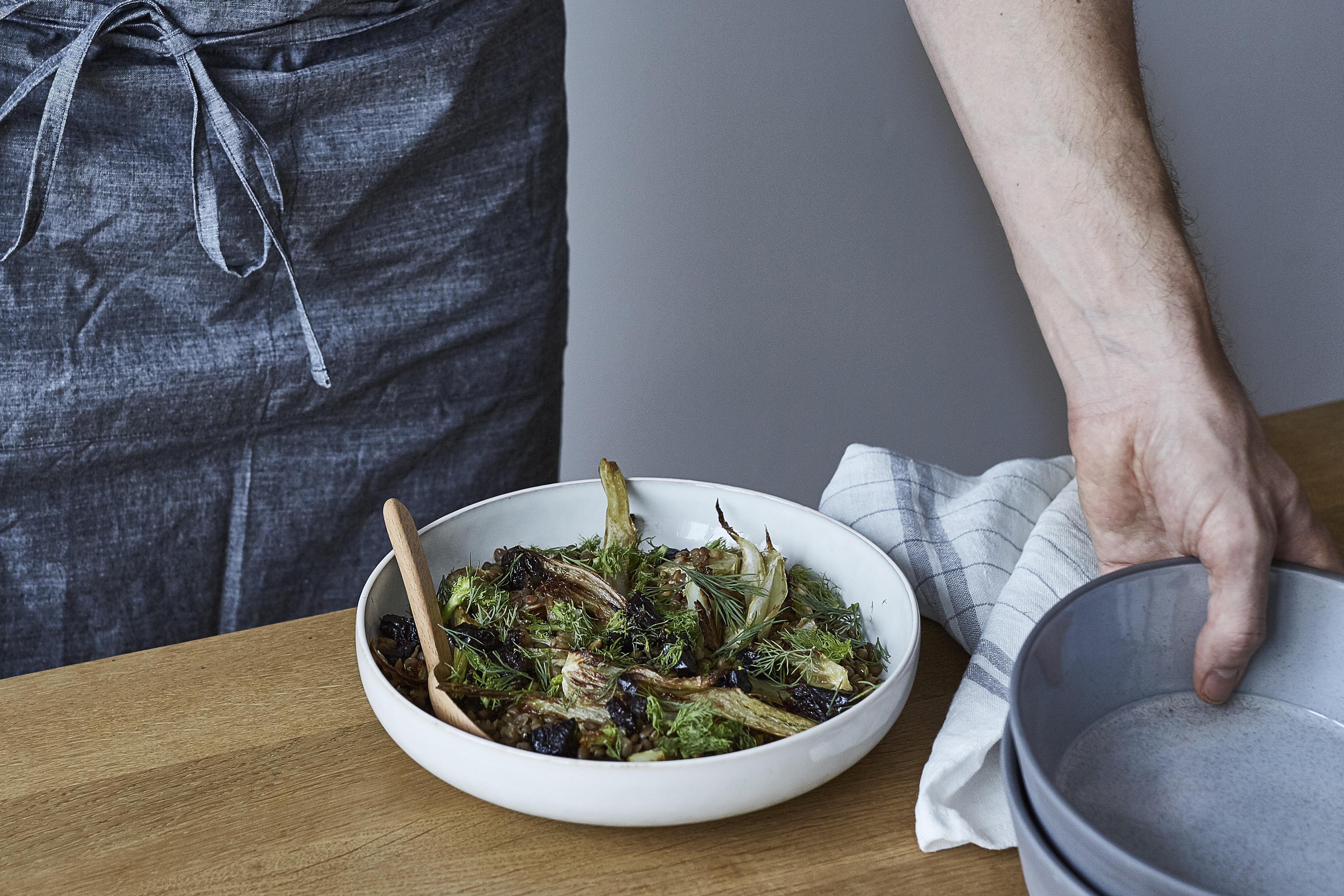 Salat mit Linsen und geröstetem Fenchel