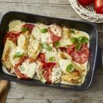 Überbackene Hühnerschnitzel mit Mozzarella und Tomate