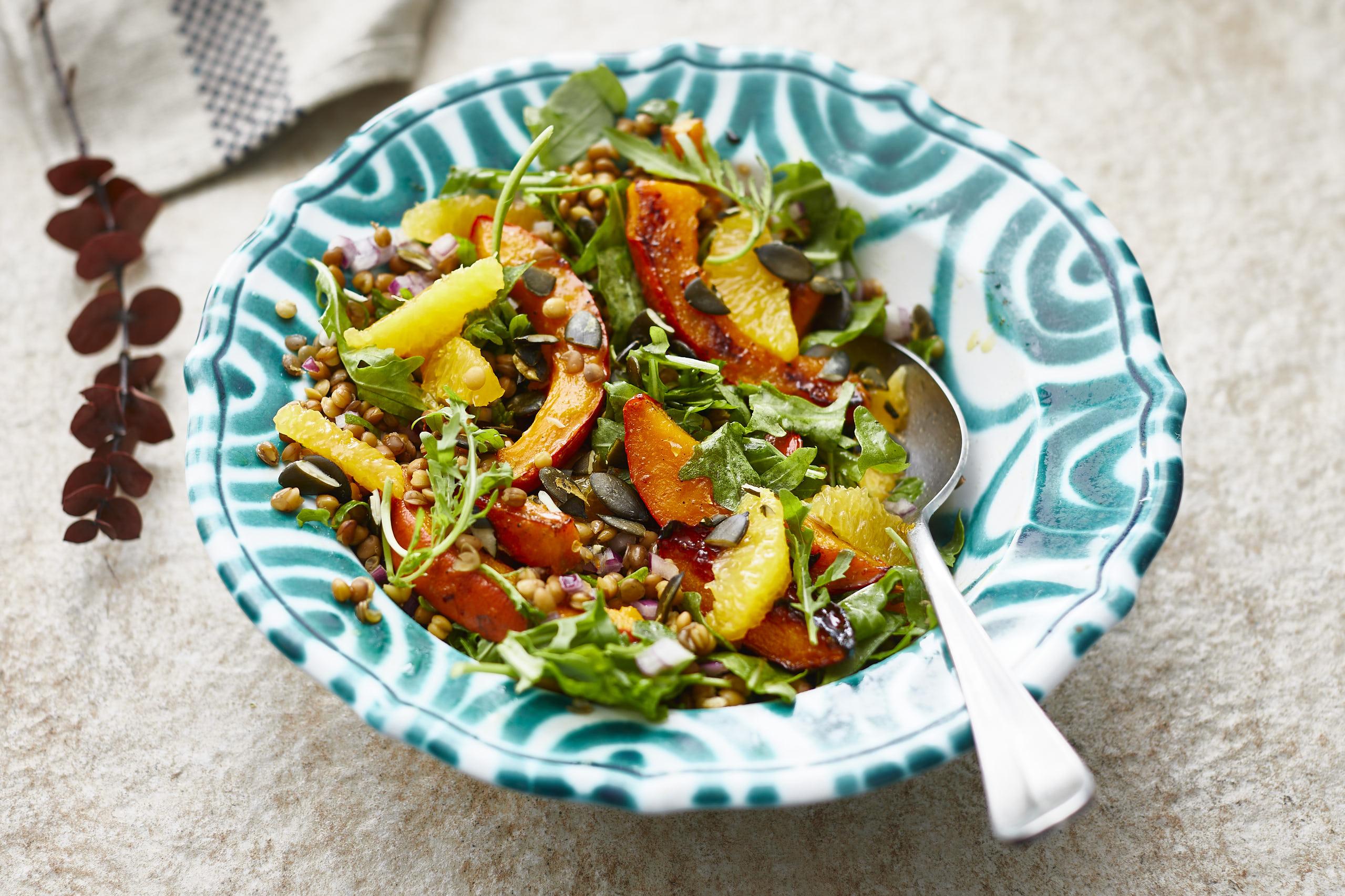 Kürbis-Linsen Salat mit Orangen